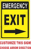 Emergency Exit w/ Arrows CUSTOMIZE THIS SIGN!