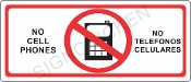 No Cell Phones Sign - English / Spanish