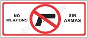 No Weapons Sign - English / Spanish