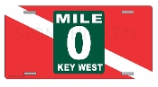 Key West - Mile 0 - Diver Down License Plate
