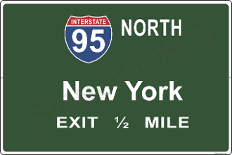 Interstate 95  North New York Exit 1/2 mile