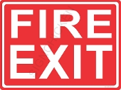 Fire Exit - White on Red