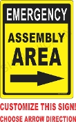 Emergency Assemly w/ Arrows CUSTOMIZE THIS SIGN!