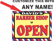 Barber Shop Open With Any Name / CUSTOMIZE THIS SIGN!