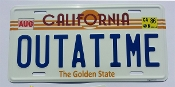 OUTATIME, Back to the Future, License Plate EMBOSSED