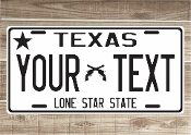 Texas Star White -  State License Plate -  CUSTOMIZE THIS PLATE!