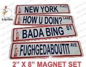 NEW YORK Street Sign  FRIDGE MAGNET SET