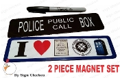 TARDIS BOOTH & POLICE BOX,  fridge magnet set
