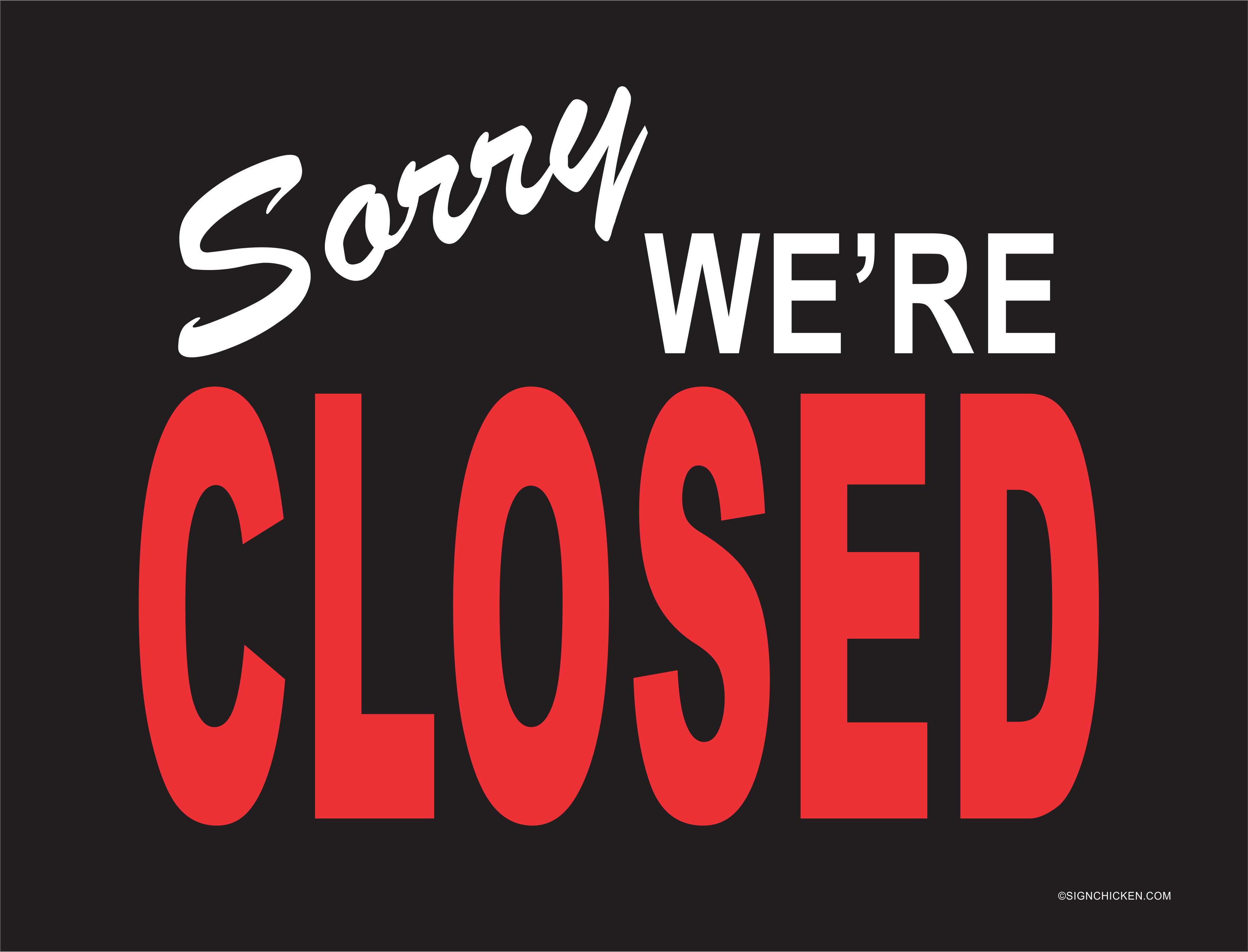 Image result for sorry, we're closed